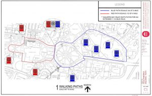 Red and Blue Walking Paths