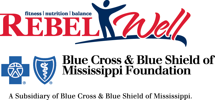Rebel Well: Fitness, nutrition, balance. A subsidiary of Blue Cross & Blue Shield of Mississippi Foundation.